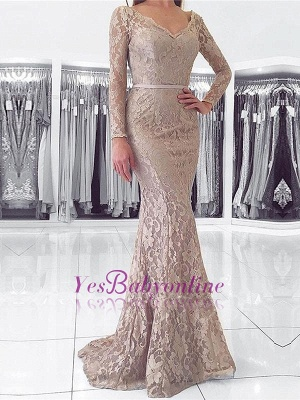 Length Floor Dresses Long Sleeves Fashion With Evening Lace Party Gowns_1