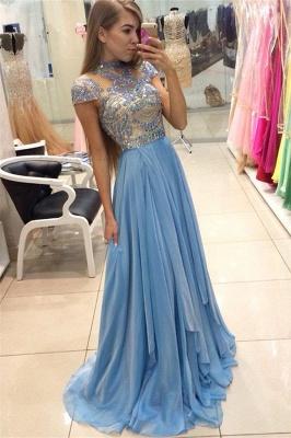 A-line Long  Romantic High-Neck Crystals Sky-Blue Prom Dresses_2