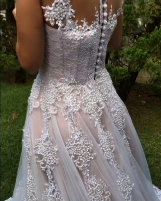 Glamorous Straps Beaded Wedding Dresses   Button Tulle A-Line Bridal Gowns_5
