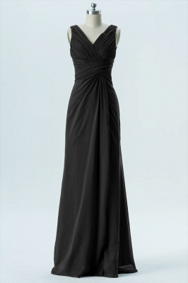 A Line chiffon V-Neck Sleeveless FLoor Length Bridesmaid Dresses_5