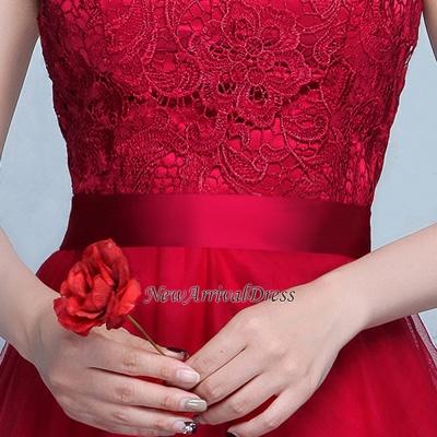 Lace A-Line Off-Shoulder Red  Elegant Evening Dresses_1
