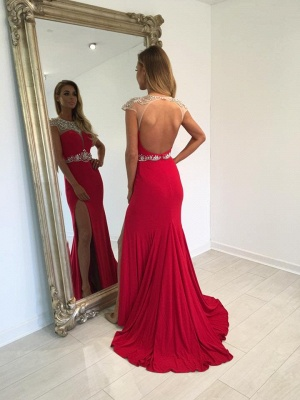 Red Long Split Crystal Cap-Sleeve Sexy Prom Dress_3