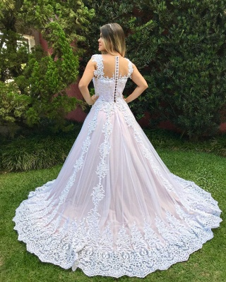 Glamorous Straps Beaded Wedding Dresses   Button Tulle A-Line Bridal Gowns_3