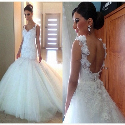 Open-Back Tulle Appliques Mermaid Glamorous V-Neck Buttons Wedding Dress_3