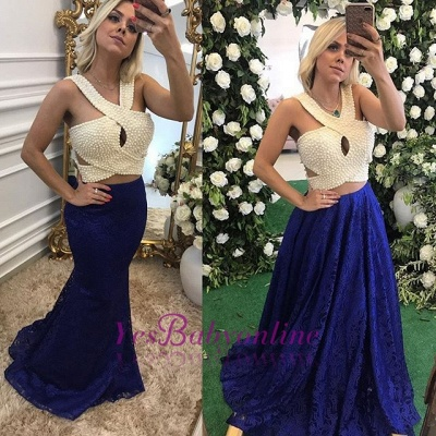 Long Lace Pearls Elegant Sleeveless Evening Dresses_4