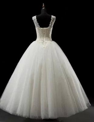 Simples Lace Wedding Dresses | Lace-up Floor Length Bridal Dresses_2