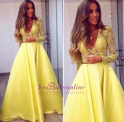 A-line Long Sleeves Deep Yellow V-neck Sexy Popular Evening Dresses_1