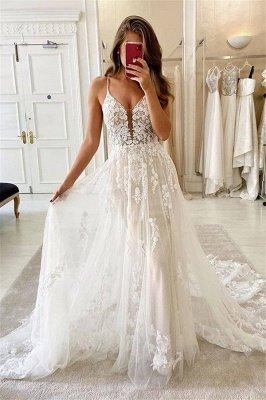Spaghetti Straps Deep V-neck A-line Lace Wedding Dresses_1
