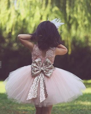 Flower Scoop Tutu  Lace-Applique Pink Girls Dresses_3