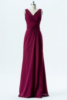 A Line chiffon V-Neck Sleeveless FLoor Length Bridesmaid Dresses_1