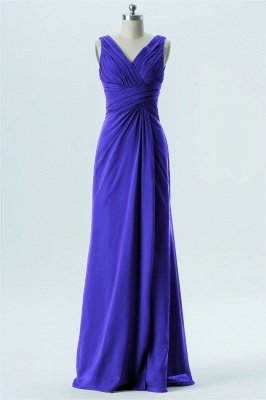 A Line chiffon V-Neck Sleeveless FLoor Length Bridesmaid Dresses_4