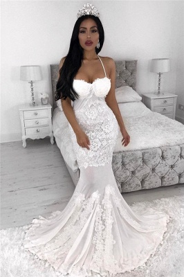 Straps Sexy Mermaid Wedding Dresses | Lace Appliques Cheap Wedding Dress_1