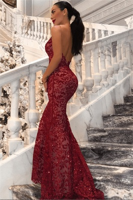 Sexy V-Neck Sleeveless Backless Mermaid Sequins Prom Dresses_1