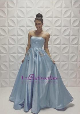 Baby Blue Strapless Prom Dresses Sleeveless Beadings A-line Formal Dresses_1