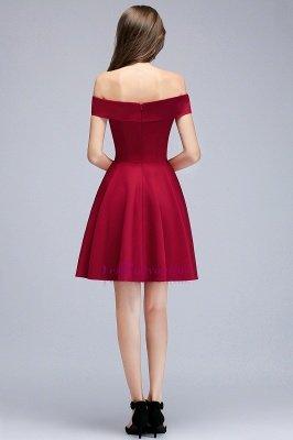 A-line Off-the-shoulder Short Burgundy Homecoming Dress_2