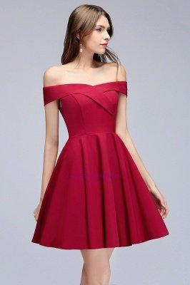 A-line Off-the-shoulder Short Burgundy Homecoming Dress_4
