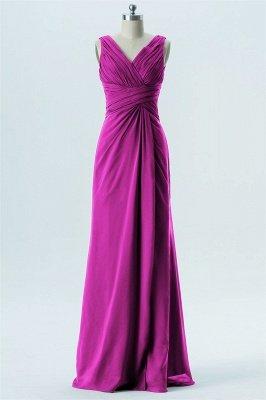 A Line chiffon V-Neck Sleeveless FLoor Length Bridesmaid Dresses_3