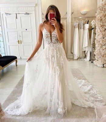 Spaghetti Straps Deep V-neck A-line Lace Wedding Dresses_2