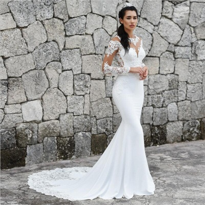 Sweep Train Mermaid Lace Appliques Bateau Long Sleeves Wedding Dress_3