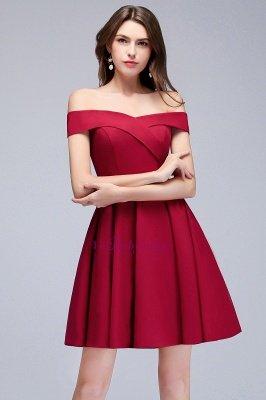 A-line Off-the-shoulder Short Burgundy Homecoming Dress_5