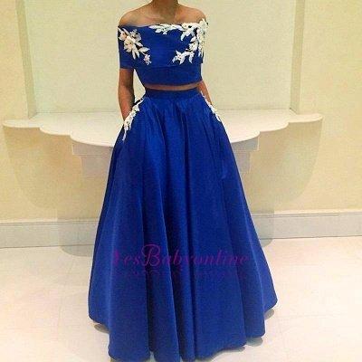 Royal-Blue Two-Pieces  Appliques Off-the-Shoulder Prom Dress_1