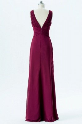 A Line chiffon V-Neck Sleeveless FLoor Length Bridesmaid Dresses_2