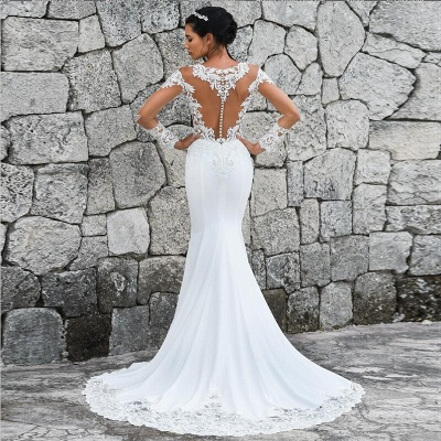 Sweep Train Mermaid Lace Appliques Bateau Long Sleeves Wedding Dress_4