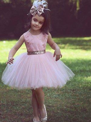Flower Scoop Tutu  Lace-Applique Pink Girls Dresses_2