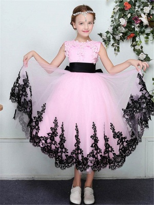 A-Line Tulle Lace Trim Edge Sleeveless Flower Girl Dress with Bowknot