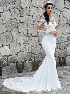 Sweep Train Mermaid Lace Appliques Bateau Long Sleeves Wedding Dress_1