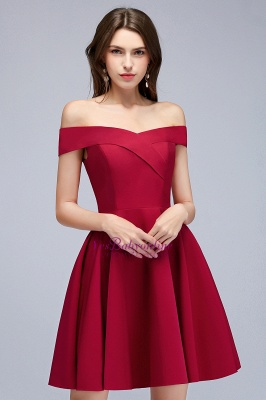 A-line Off-the-shoulder Short Burgundy Homecoming Dress_1