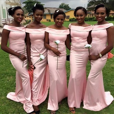 Elegant Bateau Pink Bridesmaid Dresses | Mermaid Sleeveless Wedding Party Dresses_3