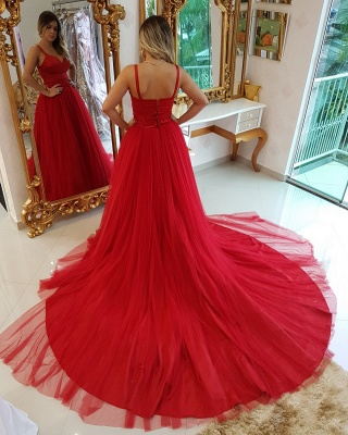 Elegant Straps Sleeveless Evening Dresses |  Appliques A-Line Prom Gowns_3