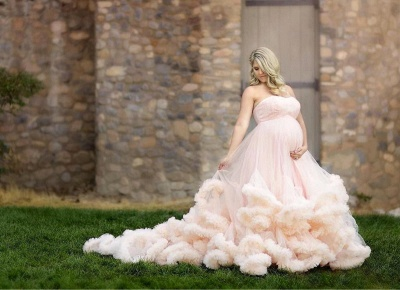 Strapless Long Pink Maternity Cloud Pregnant Wedding Dresses_3