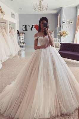 Off the Shoulder Tulle Ball Gown Wedding Dresses | Puffy Bridal Gowns_1