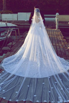 Romantic Off-the-shoulder 3D-Floral Ball Gown Wedding Dress with Chapel Train_3