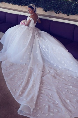 Romantic Off-the-shoulder 3D-Floral Ball Gown Wedding Dress with Chapel Train_4