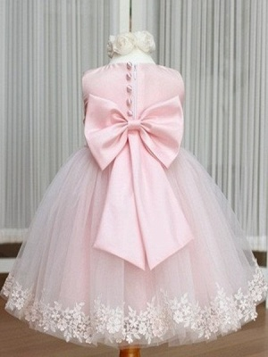 Jewel Bowknot Sash Pink Flower Girl Dresses   Lace Appliques Lovely Tulle A Line Pageant Dress_2