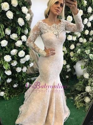 Long-Sleeve Floor-Length Appliques Stunning Mermaid Lace Evening Dress_2