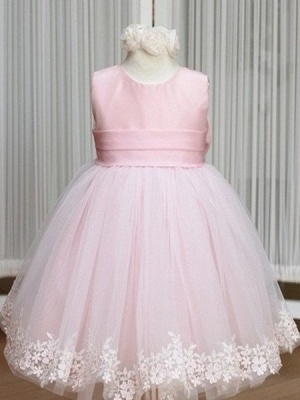 Jewel Bowknot Sash Pink Flower Girl Dresses   Lace Appliques Lovely Tulle A Line Pageant Dress_1