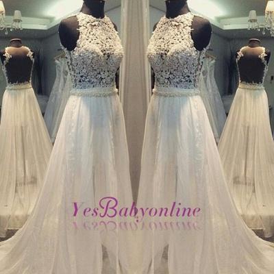 Hollow Sleevess Simple Scoop Sweep Train A-line Wedding Dress_1
