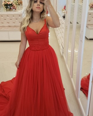 Elegant Straps Sleeveless Evening Dresses |  Appliques A-Line Prom Gowns_5