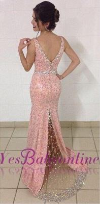 Mermaid Crystal Sequined Glamorous V-Neck Sleeveless Prom Dresses_5
