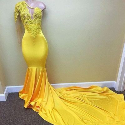 Shiny Yellow Mermaid Prom Dresses | One Sleeve Lace Evening Gowns_3