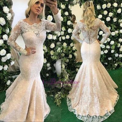 Long-Sleeve Floor-Length Appliques Stunning Mermaid Lace Evening Dress_1