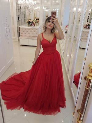 Elegant Straps Sleeveless Evening Dresses |  Appliques A-Line Prom Gowns_1