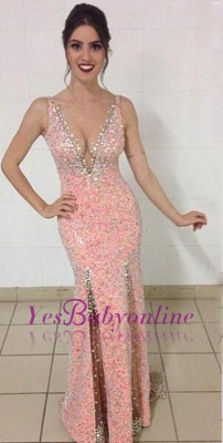 Mermaid Crystal Sequined Glamorous V-Neck Sleeveless Prom Dresses_4