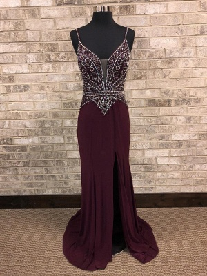 Spaghetti-Straps A-Line Front-Slit Brilliant Beading Prom dresses_2