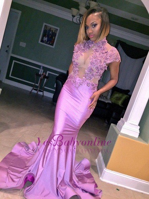 Cap-Sleeve Lilac High-Neck Illusion Flowers Appliques Mermaid Prom Dress_1