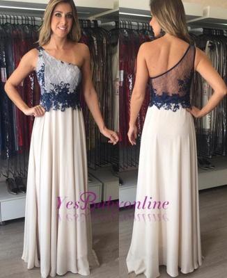 Applique Elegant Sleeveless Floor-Length  One-Shoulder Prom Dresses_1